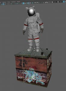 funny astronaut suit on house with mini cat