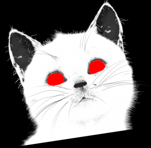 Felini cat with red eyes (render layer ID)