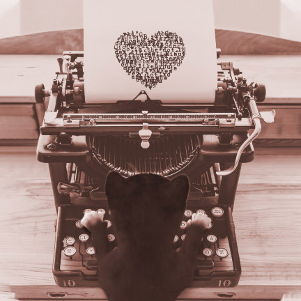 Felini the cat typing on typewriter, sending you a  loveletter message